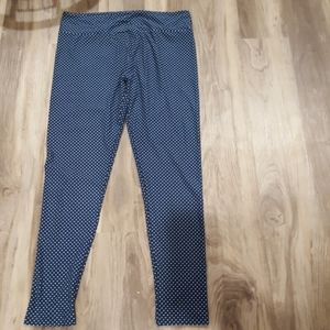 TC navy leggings with yellow polka dots